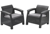 ALLIBERT CORFU DUO SET Sessel 2 St., 75 x 70 x 79cm, graphit/grau 17197993