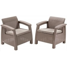 ALLIBERT CORFU DUO SET Sessel 2 St., 75 x 70 x 79cm, cappuccino/sand 17197993