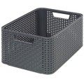 "CURVER STYLE Box 2 ""M"" Dekorative Box in Rattan-Optik, 38,6 x 17,2 x 28,7 cm, anthrazit"