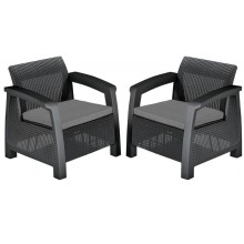 KETER BAHAMAS Lounge-Set, 2 Sessel graphit/grau 17205921
