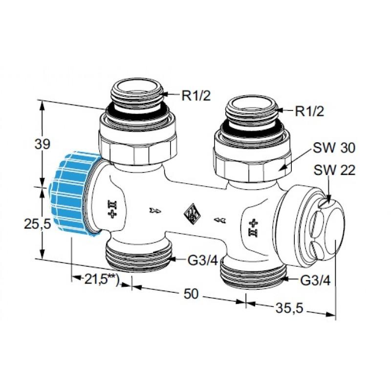 Heimeier einrohr thermostat ventilunterteil multilux rp 1 for Heimeier italia