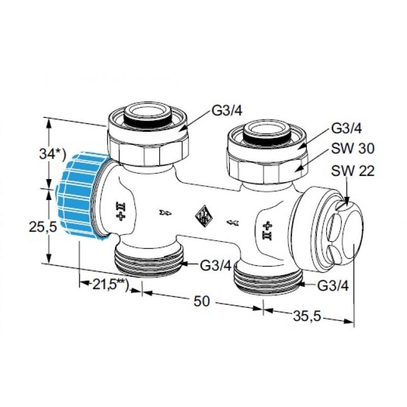 Heimeier einrohr thermostat ventilunterteil multilux g 3 4 for Heimeier italia