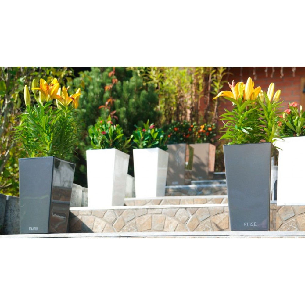plastkon in outdoor blumentopf elise 15 cm anthrazit gl nzend. Black Bedroom Furniture Sets. Home Design Ideas
