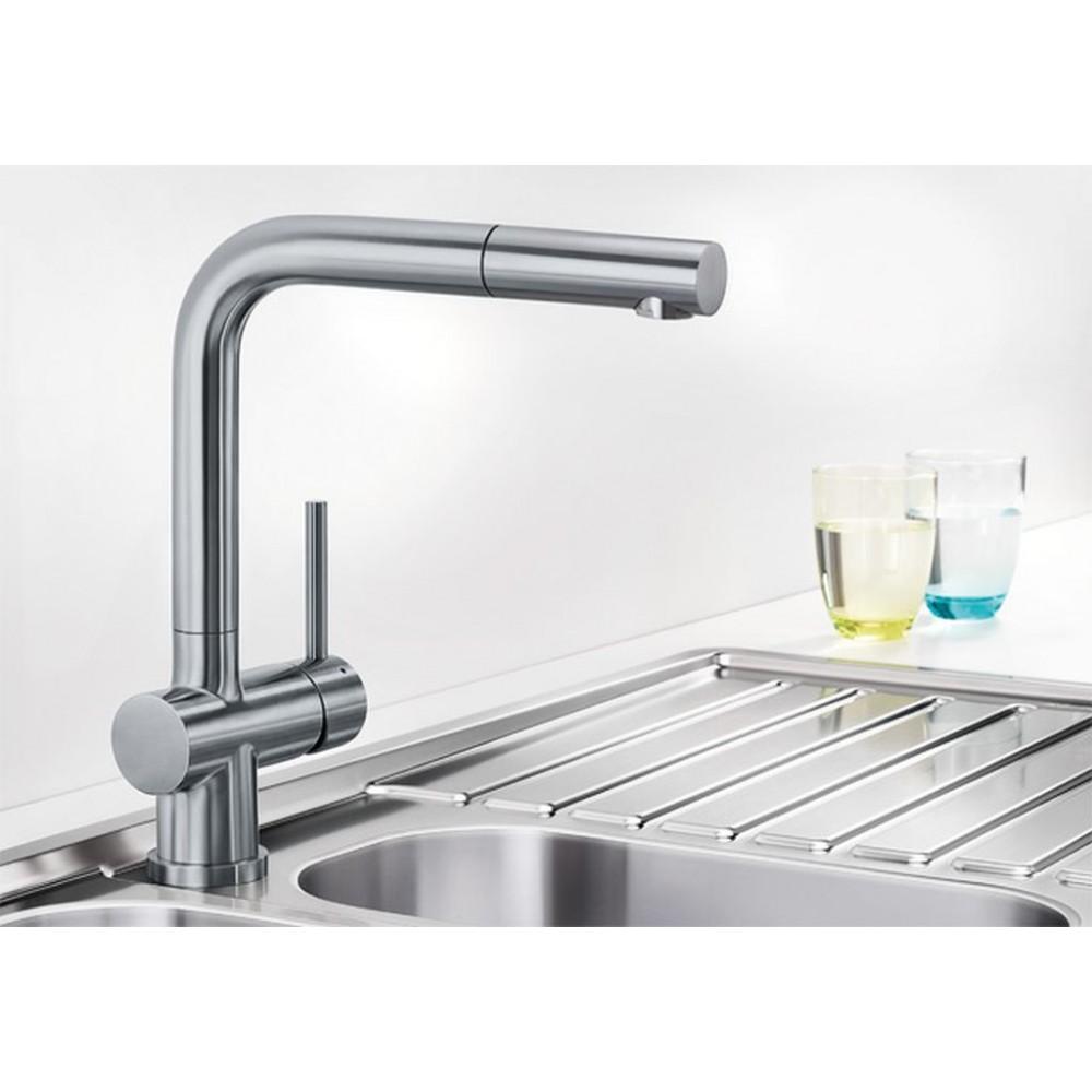 Blanco lomis s kuchenarmatur edelstahl geburstet 518716 for Küchenarmatur edelstahl gebürstet