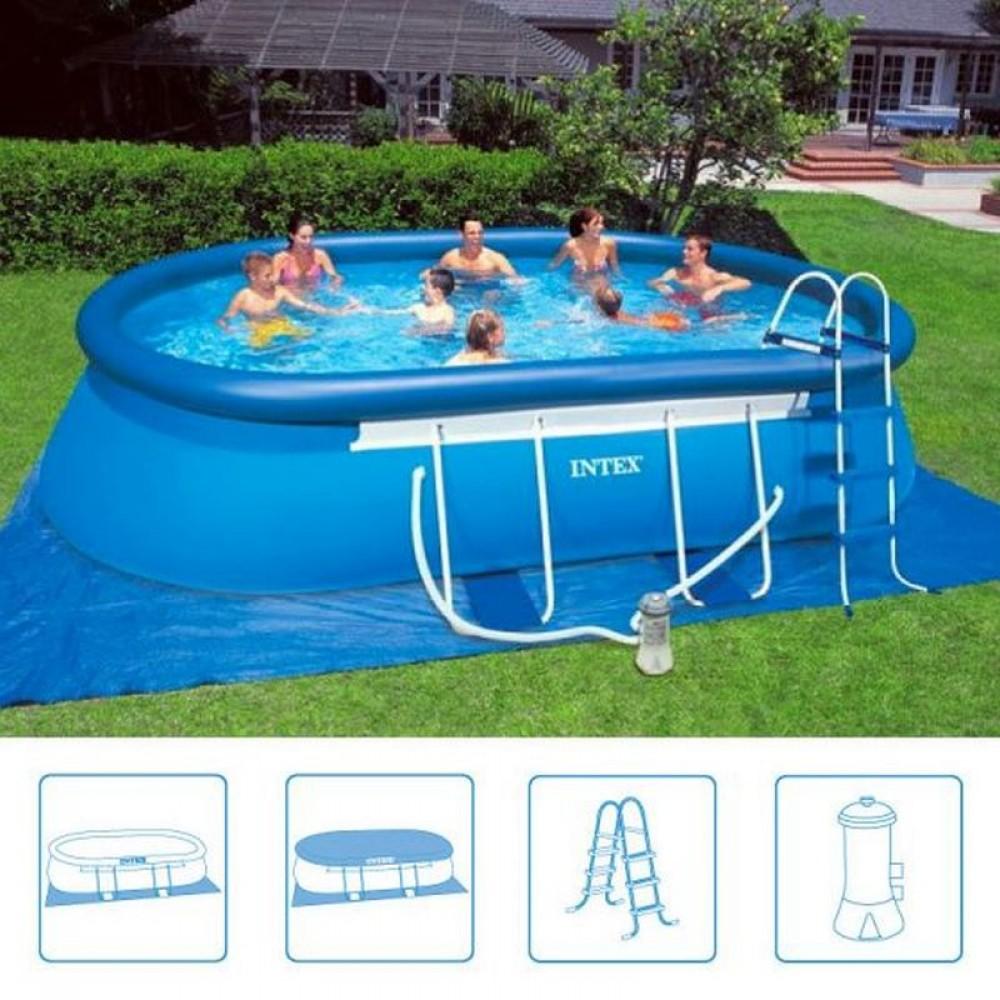 Intex oval frame pool 5 49 x 3 05 x 1 07 m filterpumpe 26192gn - Intex oval frame pool ...