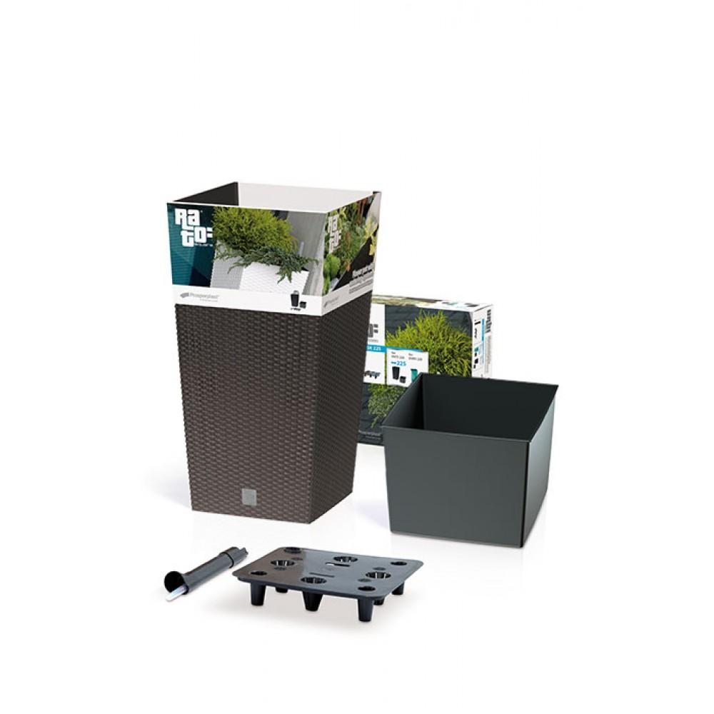 blumenk bel rato square 16 l rattan o inkl einsatz anthrazit eckig wasserstandsanzeiger. Black Bedroom Furniture Sets. Home Design Ideas
