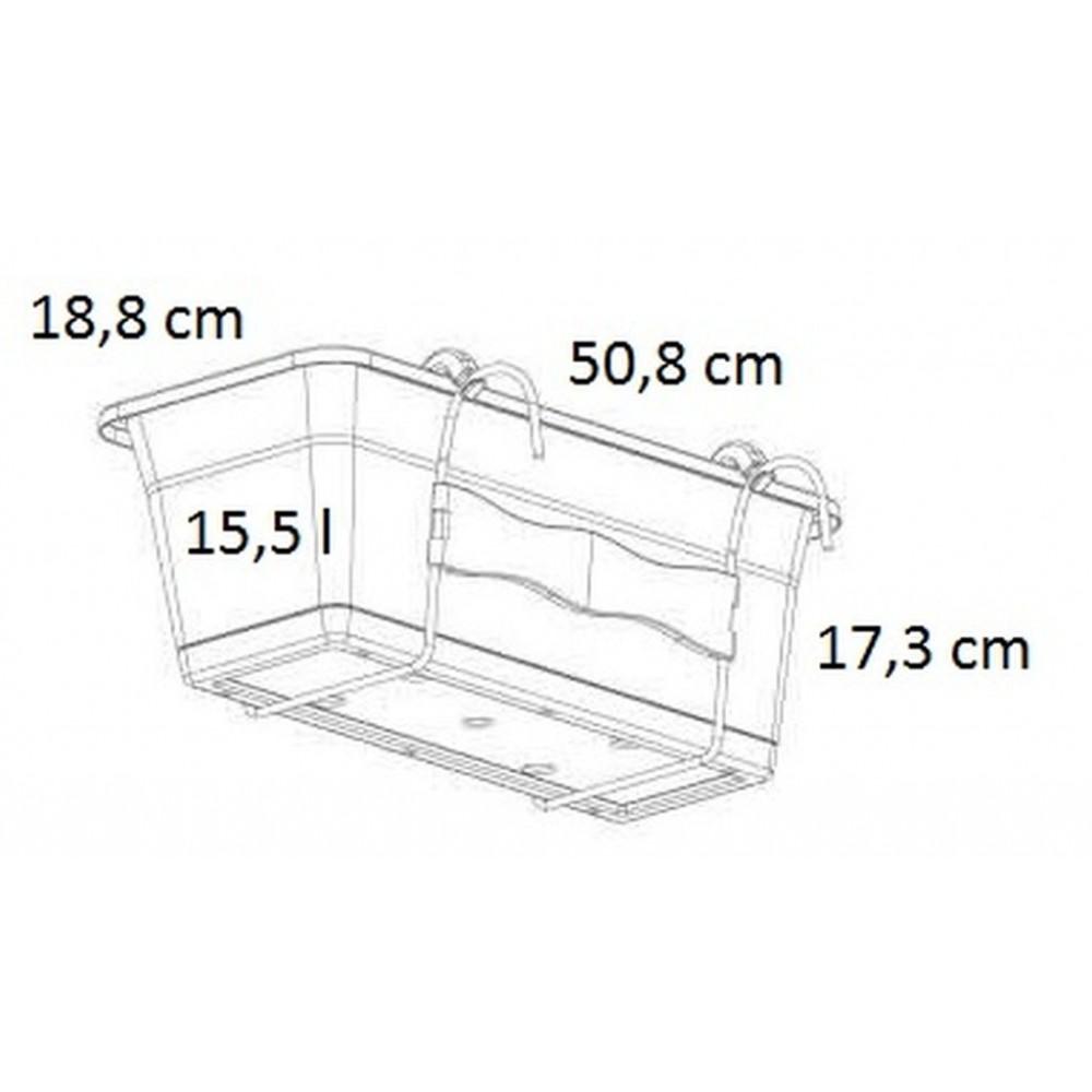 prosperplast camelia blumenkasten mit untersetzer 15 5l. Black Bedroom Furniture Sets. Home Design Ideas