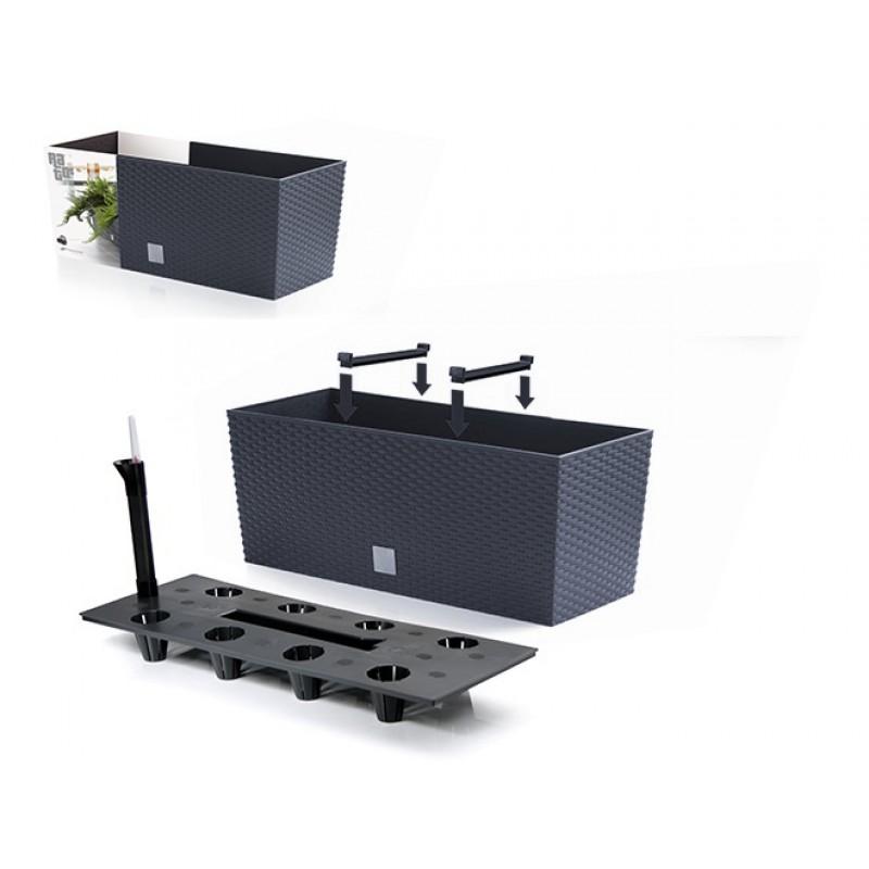 blumenkasten braun polyrattan optik 60 cm rato case mit bew sserungssystem drtc600. Black Bedroom Furniture Sets. Home Design Ideas
